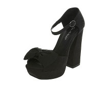 Black Bow Heel Sandals at Missselfridge