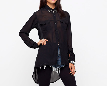 Black Sheer Studded Collar Shirt at Motel