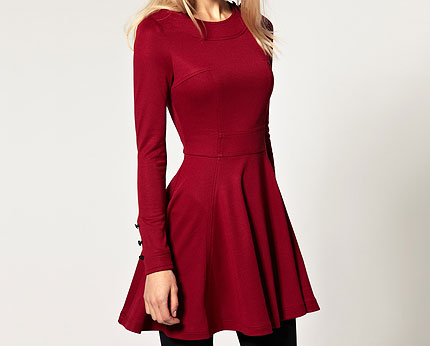 36acad4bd549 Skater Dress with Long Sleeves at Asos