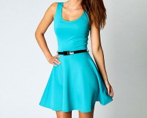 Belted Skater Dress at Boohoo