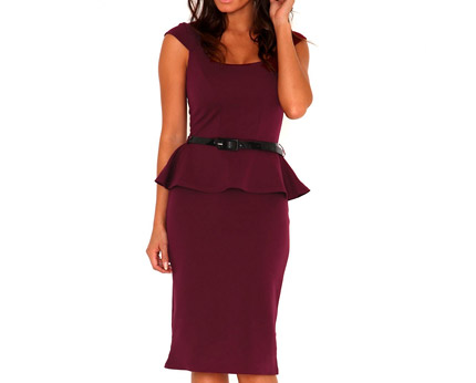 Burgundy Tailored Peplum Dress at Missguided