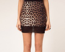 Mesh Hem Animal Print Skirt at Asos