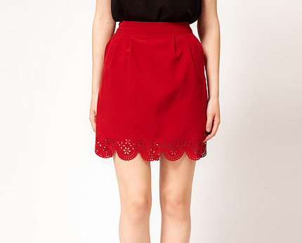 Scalloped Edge mini Skirt at Asos