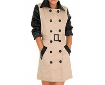Leather Sleeve Trench Coat at Missguided