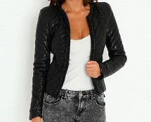 Quilted Leather Jacket at Missguided