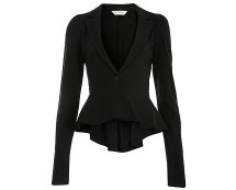Black Jersey Peplum Blazer at Missselfridge