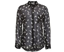 Black Sheer Bird Print Shirt at Newlook
