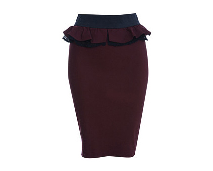 Burgundy Lace Peplum Skirt at Misselfridge