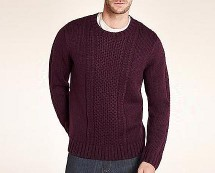 Crew Neck Textured Panelled Jumper at MarksandSpencer