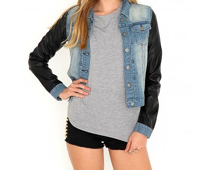 Denim Jacket Leather Sleeves at Missguided