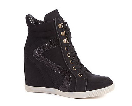 Glitter Zig Zag Wedge Hi Tops at Newlook