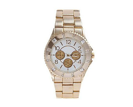 Gold Diamante Watch at Newlook