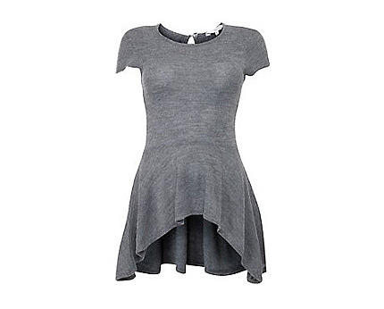 Grey Curved Dip Hem Peplum T-Shirt at Newlook