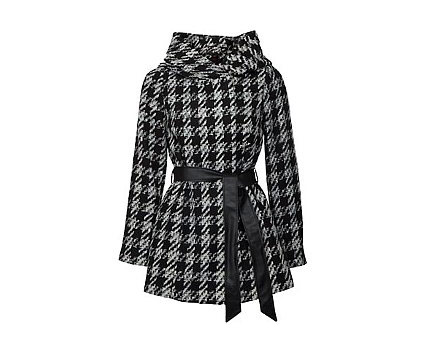 Houndstooth Snood Coat with Pu Belt at Newlook