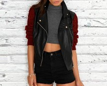 Leather Jacket with Knitted Sleeves at Missquided