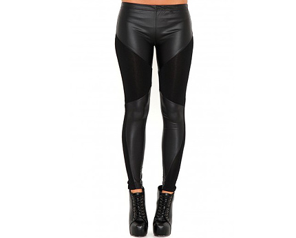 Leather Panel Leggings at Missguided