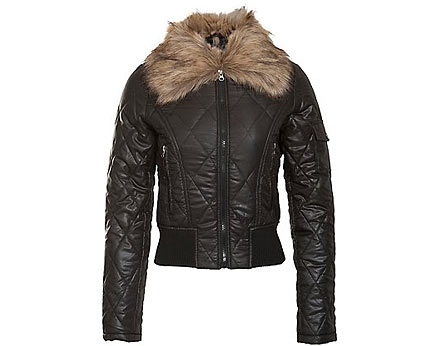 Quilted Bomber Jacket with Fur Collar at Newlook