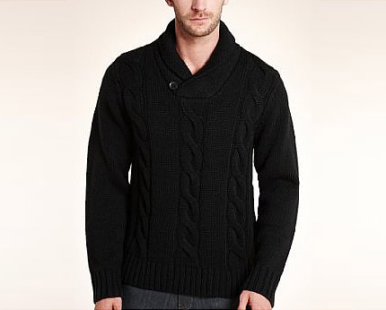 Shawl Collar Cable Knit Jumper at MarksandSpencer