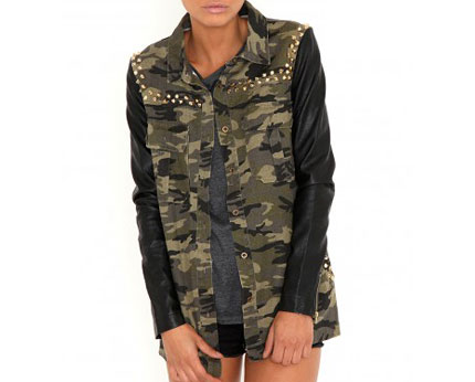 Stud Camouflage Jacket with Leather Sleeves at Missguided