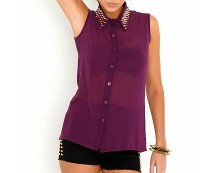 Stud Collar Sleeveless Blouse at Missguided