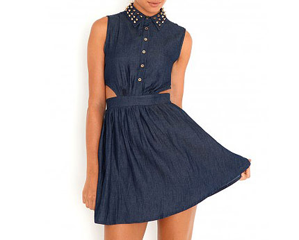Studded Collar Denim Dress at Missguided