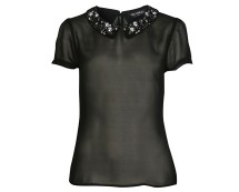Embellished Collar Tee at Missselfridge