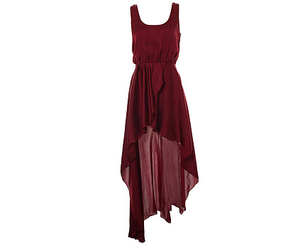 Aubergine Asymmetrical Maxi Dress at Inlovewithfashion