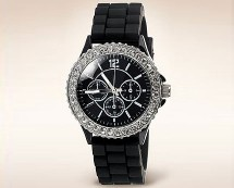 Black Analogue Diamante Watch at M&S