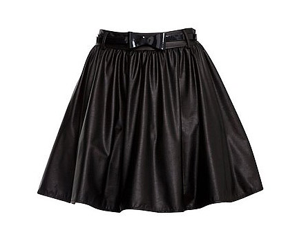 Black Leather Look PU Skater Skirt at Newlook