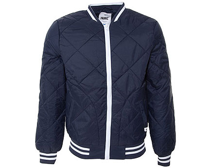 Blue Quilted Bomber Jacket at Republic