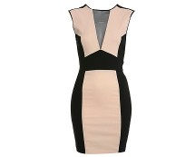 Nude and Black Bodycon Dress at Missselfridge