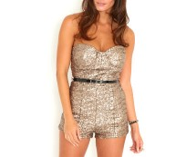 Sequin Belted Playsuit at Missguided