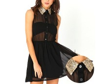 Sequin Collar Skater Dress at Missguided