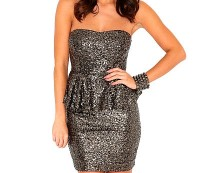 Sequin Peplum Dress at Missguided