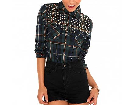 Studded Checked Shirt at Missguided