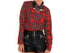 Wing Tip Red Check Shirt at Missguided