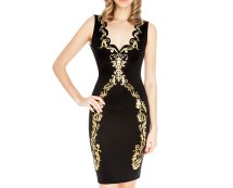 Scalloped Baroque Bodycon Dress at Goddiva
