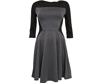 Grey and Black Skater Dress at Newlook