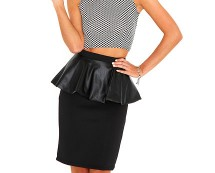 Beckie Leather Peplum Skirt at Missguided