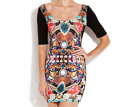Paprika Black Bodycon Dress with Jewel Print at New Look