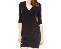 Black Stretch Wrap Dress at Goddiva