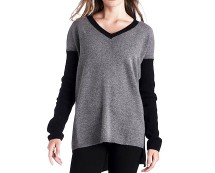 Grey Contrast V-neck Asymmetric Sweater at La Redoute