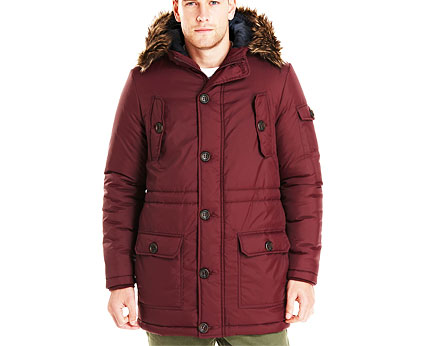 D-Struct Hood Parka with Faux Fur at Tesco