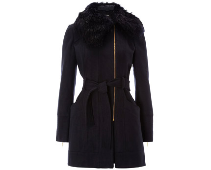 Black Faux Fur Collar Formal Coat at Tesco