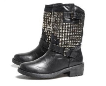 Faux Leather Studded Biker Boots at AX Paris