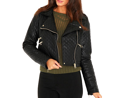 Georgina Quilted Faux Leather Biker Jacket at Missguided