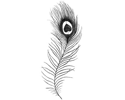 Temporary Inkwear Peacock Feather Tattoo