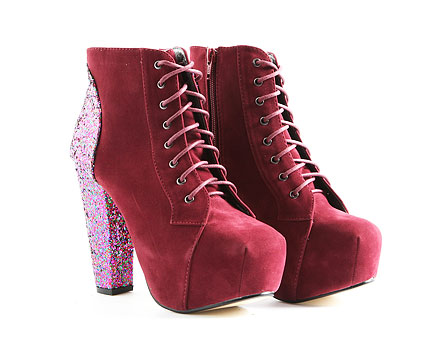 Janice Glitter Faux Suede Heel Platform Boots at Missguided