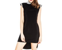 Jewelled Dipped Hem Shift Dress at Goddiva