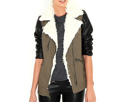 Joyce Jacket with Shearling Trim at Missguided
